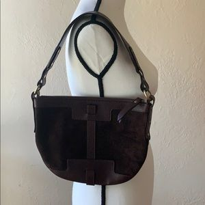 Burberry brown suede and leather mini hobo.